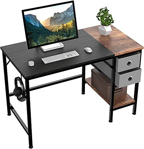 HOMIDEC Escritorio de Computadora,Mesa de Ordenador para Estudiantes y Trabajadores, Escritorio con cajón y Colgador para Auriculares, Mesa para computadora portátil con estantes (100x60x75cm)