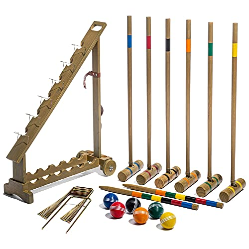 Franklin Sports Outdoor Croquet Set - 6 Player Croquet Set with Stakes, Mallets, Wickets, and Balls - Backyard/Lawn Croquet Set - Vintage