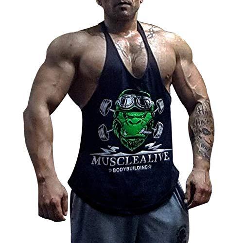 Hombres Culturismo Camiseta sin Mangas Larguero Gimnasio Ejercicio Aptitud Chaleco Algodón