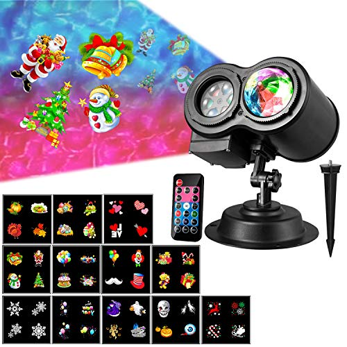 Christmas Holiday Projector Lights, 2 in 1 Ripple Ocean Light Projector with 12 Slides Patterns10 Wave Colors Outdoor/Indoor Party Landscape Garden Decoration Led Lighting Projector with Remote