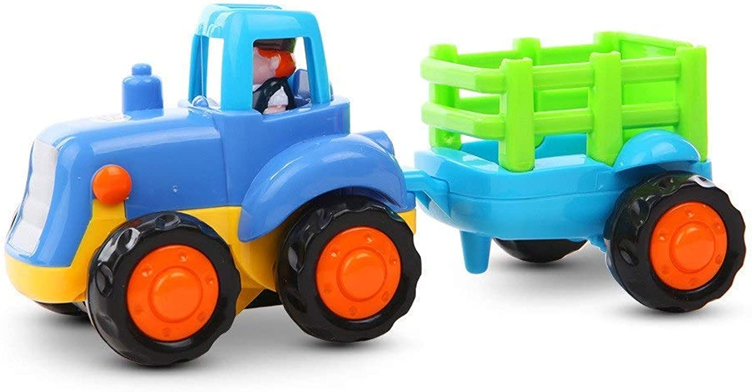 Push and Go Friction Powered Car Toys Set Tractor Bulldozer Mixer Truck and Dumper Pull Back Vehicles Friction Powered Cars Black