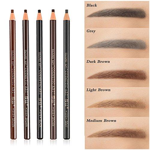 5 COLORS Set Eyebrow Pencil Drawing Eye Brow Pen Peel Off Makeup Cosmetic