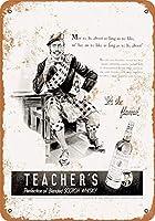 2個 8 x 12 CM メタルサイン - 1940 Teacher's Scotch Whisky メタルプレート レトロ アメリカン ブリキ 看板
