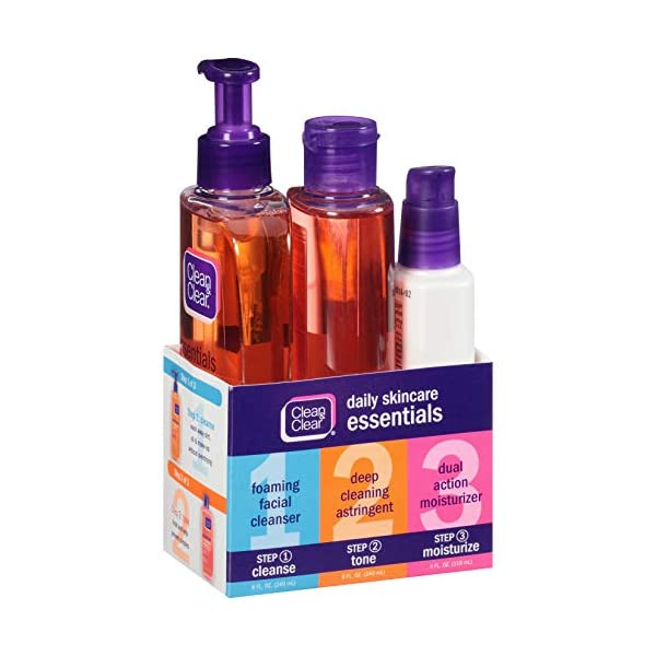 Beauty Shopping Clean & Clear Daily Acne Skincare Essentials Set with Foaming Facial Cleanser,