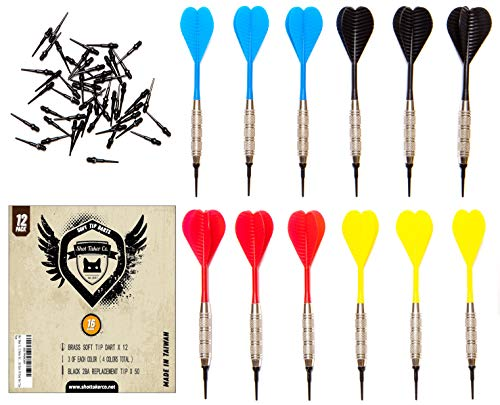 SHOT TAKER CO. EST. 2017 Soft Tip Darts Set |12 pc Bar Darts | 50 Extra Black 2BA Tips | 3 of Each Colour| Perfect Fun Darts for 4 Players on Electronic and Plastic Dartboard (16g Silver)