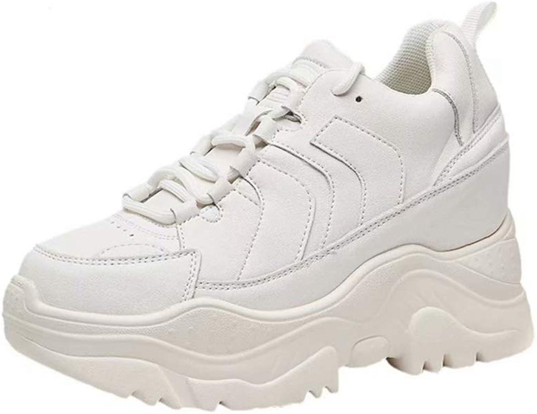 T-JULY Autumn Women High Heel Microfiber Leisure Platform Wedges shoes Ladies Height Increasing White Sneakers