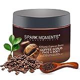 Exfoliante corporal de café, pérdida de peso, piel suave, reducción de celulitis, granos de café arábica natural, limpieza profunda de 340 g / 12 oz