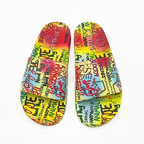 Ririhong Verano Nuevo párrafo de Chanclas Palabra de Graffiti Creativo Sandalias Planas y Zapatillas Ropa Exterior Femenina Zapatillas-Rainbow_36
