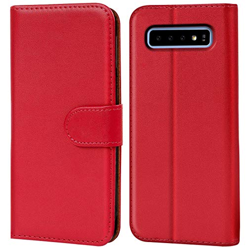 Verco Galaxy S10 Hülle, Handyhülle für Samsung Galaxy S10 Tasche PU Leder Flip Hülle Brieftasche - Rot