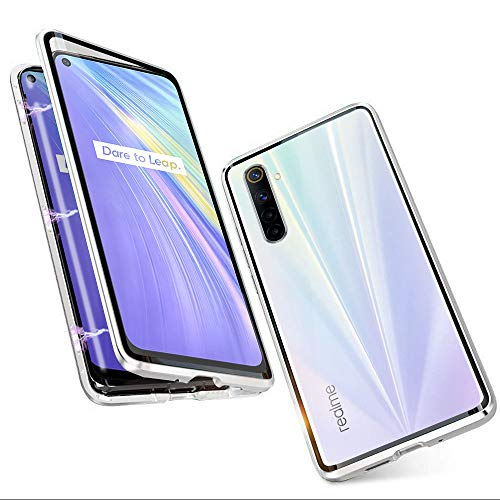 Case for Realme 6 Magnetic Adsorption Tech 360 Degrees Protection Cover Tempered Glass Frame Aluminum Strong Magnet Shockproof Metal Case