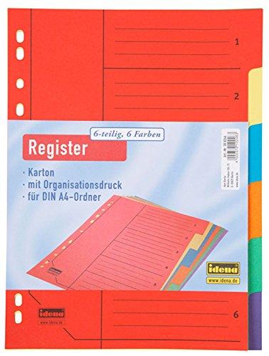 Idena 300246 - Register 6-teilig, für DIN A4, aus Karton, 170 g/m², bunt, 1 Stück