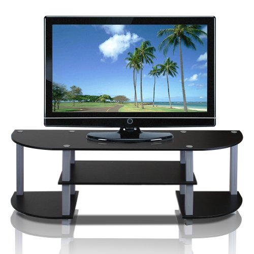 Furinno Turn-S-Tube Wide TV Entertainment Center, Black/Grey