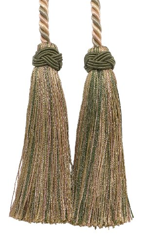 Double Tassel / Olive Green, Champagne / Tassel Tie with 10cm Tassels, 66cm Spread (Cord Length), Imperial II Collection Style# ICT Color: SAGEGRASS - 4567
