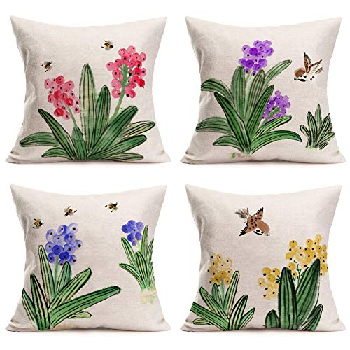 Fukeen Pack of 4 Flower Leaves Pillow Covers 18x18 Inch Watercolor Floral Leaf Birds Bee Botanical Farmhouse Style Outdoor Garden Decoration Pillow Cases Cotton Linen Cushion Cover for Sofa Couch