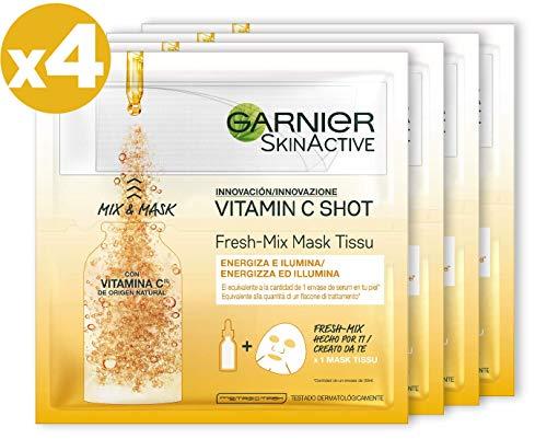 Garnier Skin Active Fresh-Mix Mascarilla de Tejido con Vitamina C, Energiza e Ilumina, para Pieles Deshidratadas - 4 unidades