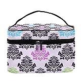 Bolsa de maquillaje de viaje floral romano retro colorida bolsa de maquillaje organizador con cremallera para mujeres y niñas