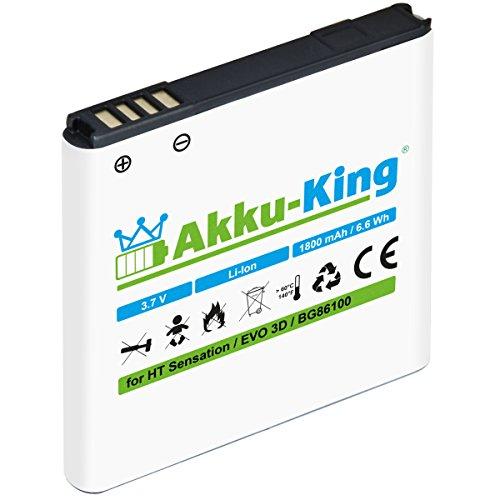 Akku-King Akku kompatibel mit HTC BG58100, BG86100, BA-S560, BA-S590 - Li-Ion 1800mAh - für Sensation, XE, EVO 3D, Pyramid, Google G14
