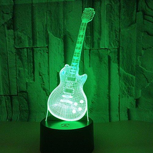 3D Lámpara Guitarra lampara de ilusion óptica colores con control remoto, Decoracion LED Visual Luz de noche para niños Cumpleaños Regalos