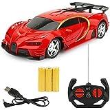 Wangch 1:18スケールRCカースポーツカーブガッティRCレーシングカーの2.4GHz 4Wステアリングサーボの高速RCレーシングカーキッズモンスタートラックハロウィンベストギフト(色:ブルー) (Color : 赤)