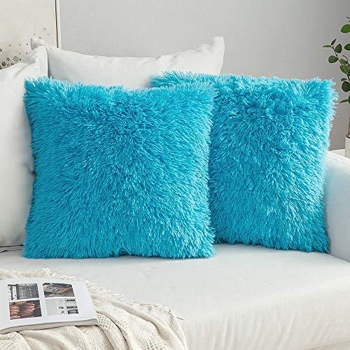 MIULEE Confezione da 2 Federe in Felpa per Cuscini Decorative Fodere Copricuscini Arredi per Casa Divano Letto40 X 40 cm Blu Chiaro