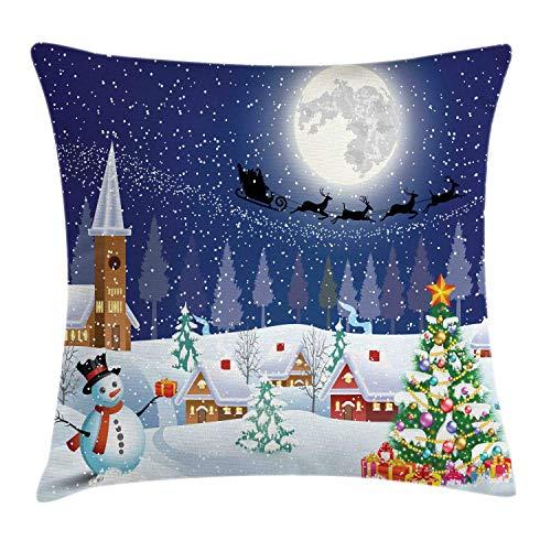 Funda de cojín de Almohada navideña, Temporada de Invierno Muñeco de Nieve Árbol de Navidad Santa Trineo Luna Cajas de Regalo Nieve y Estrellas, 45 x 45 cm, Blanco Azul