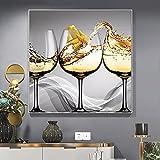 Impresiones en lienzo Copa de vino con barco dorado Creatividad Pinturas artísticas de pared Imagen Poater Sala de estar Dormitorio Hoom Decoración de pared 27.5 'x27.5' (70x70cm) Sin marco