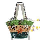 Nuevo bolso tejido de paja con forma de estrella de mar bordada a mano de Bohemia, bolso femenino tejido con cuentas y bandolera