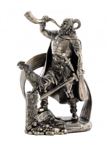 Veronese - Statuetta bronzata Heimdallr guardia del Bifrost con Gjallarhorn, dio germanico