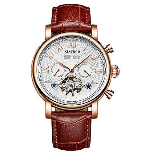 Hellery KINYUED Skeleton Analoguhr Automatic Men Mechanical Geniune Leather Strap