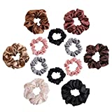 TTKLYN Hair Ties,12pcs Elegant Satin Solid Elastic Hair Bands Ponytail Holder for Women and Girls, Scrunchies Tie Hair Rubber Band Headband Lady Hair Access