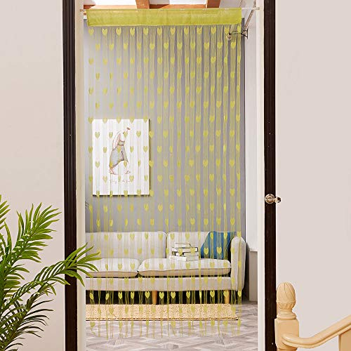 ToDIDAF Transparente Gardinen Vorhang, Liebe Herz Fadenvorhang Fenster Tür Teiler Gardine Volant 1 Stoffbahn, für Zuhause Wohnzimmer Schlafzimmer Dekoration 100 x 200 cm (Gelb)