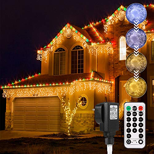 Icicle Lights Outdoor, ECOWHO Christmas Lights Connectable 440 LED Icicle Lights Waterproof 29v Curtain Fairy Lights Plug in 4 Colors Memory Timer Dim 19-Key Remote for Eaves Bedroom Indoor Décor