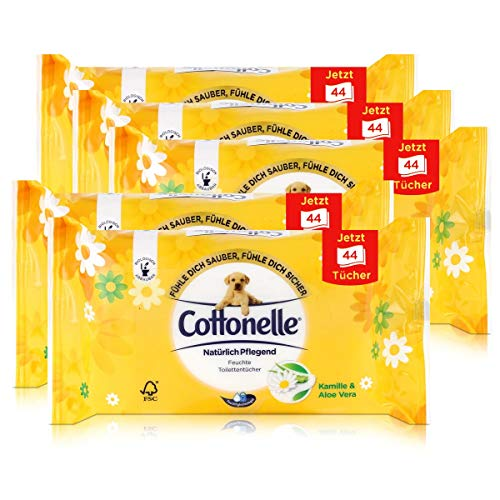 5x Hakle Cottonelle feuchte Toilettentücher Kamille & Aloe Vera 44 Tücher, Nachfüller