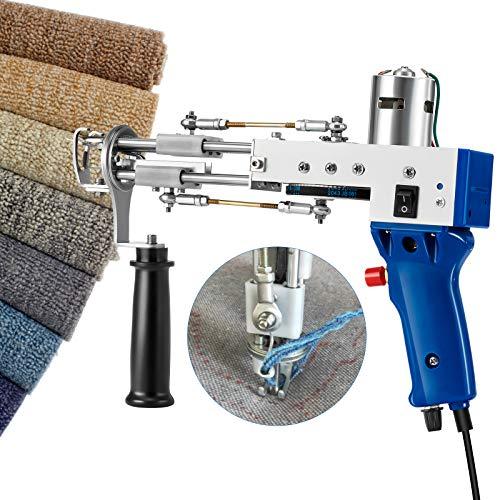 HUKOER Pistola para mechones de alfombras Máquina de flocado de tejido de alfombras Pistola para acolchar alfombras para pila cortada 7-21 mm, herramientas de bricolaje para el hogar