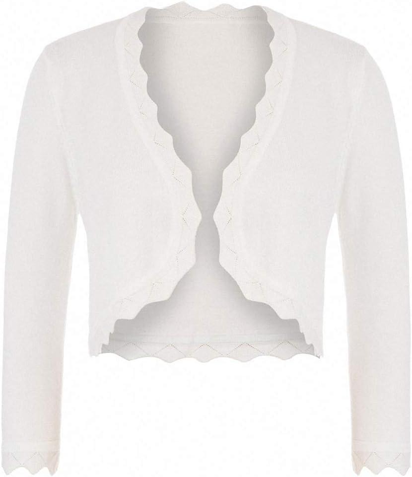Xileg Women's 3/4 Sleeve Open Front Cropped Length Bolero Shrug Knitting Cardigan