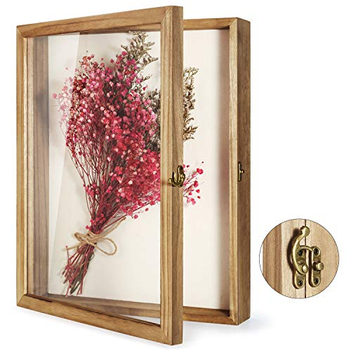 TJ.MOREE Caja de sombra de 33 x 40 cm, marco de caja de sombra de flores, marco con ventana de cristal, ramo de fotos de boda, memorabilia, medallas, fotos, caja de memoria para recuerdos