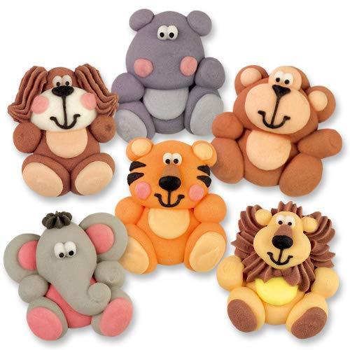 48 Zootiere flach, aus Zucker | Hund | Nilpferd | Affe | Elefant | Tiger | Löwe