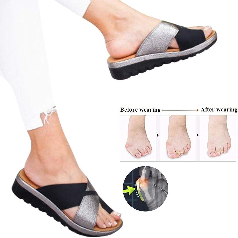New Women Summer Beach Travel shoes Summer Platform Sandals 1 Pair Multiple Sizes Big Toe Bone Correcting Sandals Comfortable Beach Travel shoes Fashion Sandals,Black,35