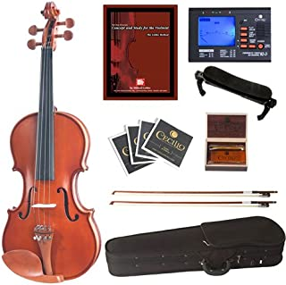 Cecilio CVN-400 Satin Finish Violin w/ Tuner, 2 Bows, Shoulder Rest, Extra Sets Strings & Lesson Book in Size 1/4