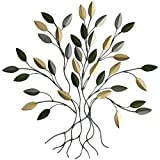 Comfy Hour 16' Tree of Life with Green and Gold Leaves Wall Decor Metal Art