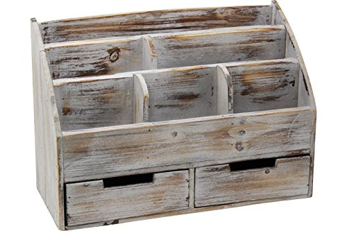 Vintage Rustic Wood Desktop Organizer with Compartments and Drawers