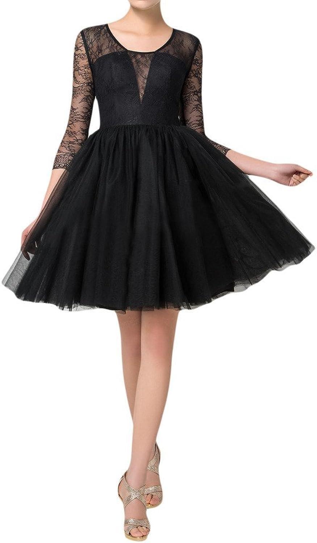 Angel Bride Little Black Dresses ALine Tulle Formal Dresses with Long Sheer Sleeves
