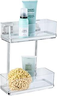WENKO Vacuum-Loc® 2-tier wall rack Quadro, Stainless steel, 25.5 x 32.5 x 14 cm, Shiny