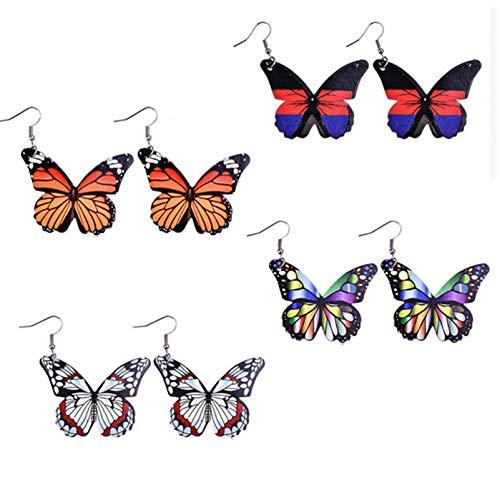 BNMY Pendientes De Cuero De Mariposa, Pendientes De Cuero PU Impresos A Doble Cara, Pendientes Delicados, para Regalo De Mujer,4 Pack