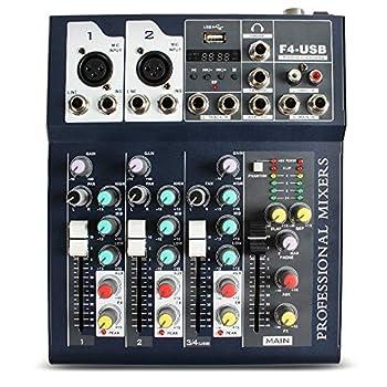 Professional Wireless DJ Audio Mixer ALPOWL Sound Board Console Desk System 4-Channel Digital Mixer for PC MP3 USB Bluetooth Input 48V Phantom Power Stereo DJ Studio Ideal for Clubs Bar Parties