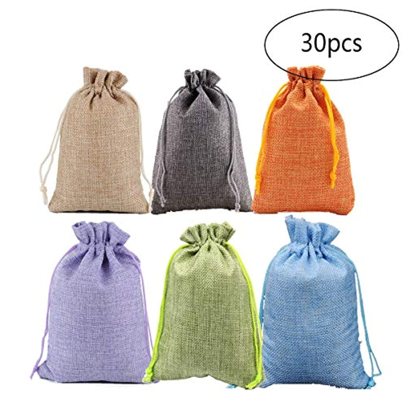 JKJF 6 Mixed Burlap Bags, Gift Bags for Wedding Party, Jewelry Pouch, Candy Pouch Christmas, 3.7 x 5.3 Inch, with Drawstring (30 Pcs, Each Color 5Pcs)