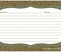 Bella Cupcake Couture Olivia Swirl Recipe Cards, Blue/Brown