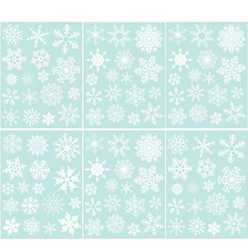 85 Fensterdeko Schneeflocken NICEXMAS Fensterbilder Schneeflocken(weiss) - Statisch Haftende PVC Aufkleber