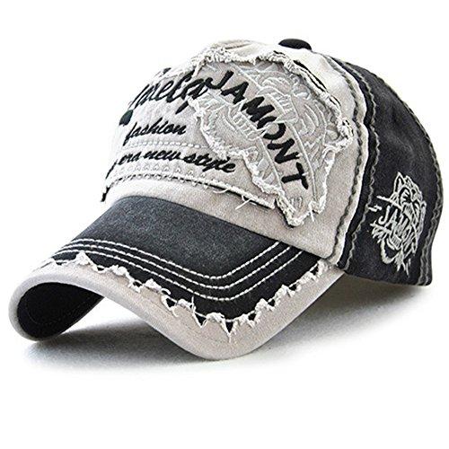 Tioamy Baseball Kappe Basecap Unisex einstellbare Retro Baseball Hut Freizeit Cap modischste Cotton Cap Schreiben Outdoor Hut, Einheitsgröße, schwarz