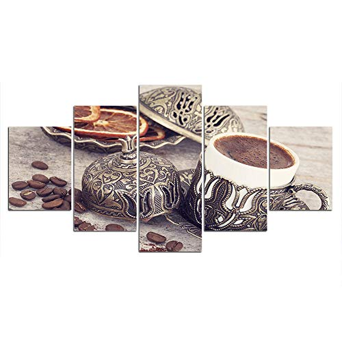 ZXYJJBCL Exquisite Coffee Cup 5 Panel Wall Art Print On Canvas For Modern Artwork For Living Room Dinning Room Home Decor Decoration